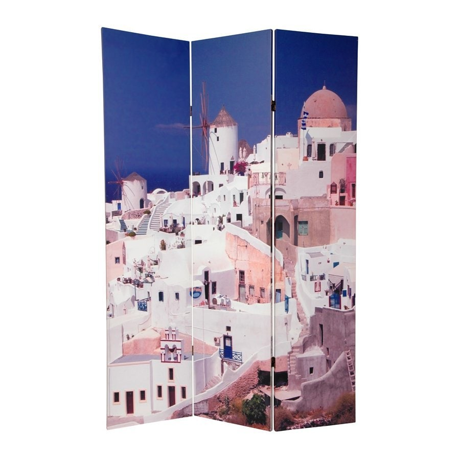 Oriental Furniture Santorini 3-Panel Multi Wood and Fabric Folding Indoor Privacy Screen