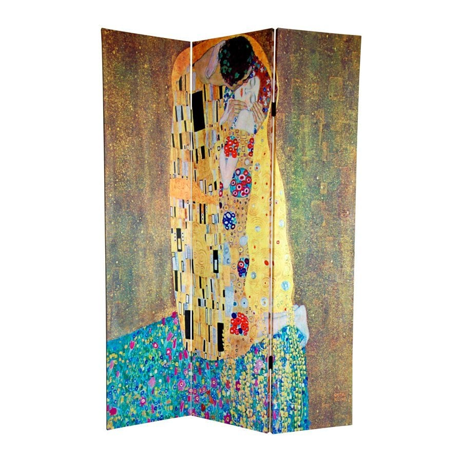 Oriental Furniture Works Of Klimt 3-Panel Multicolor Fabric Folding Indoor Privacy Screen