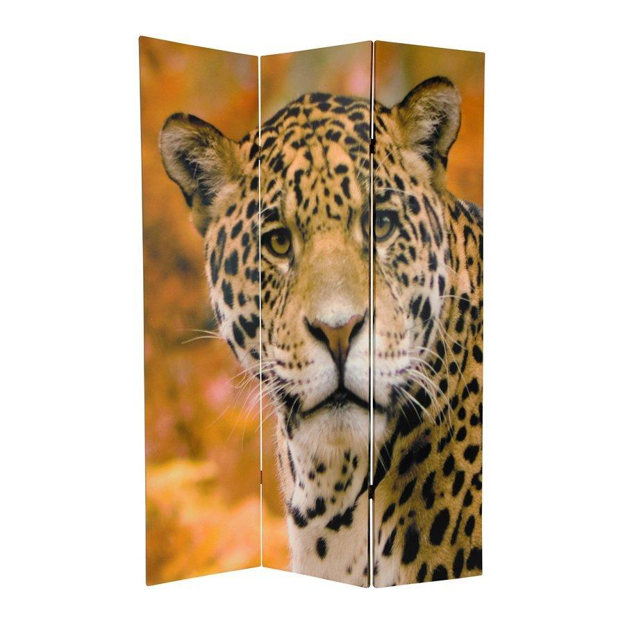 Oriental Furniture Leopard 3-Panel Multicolor Fabric Folding Indoor Privacy Screen