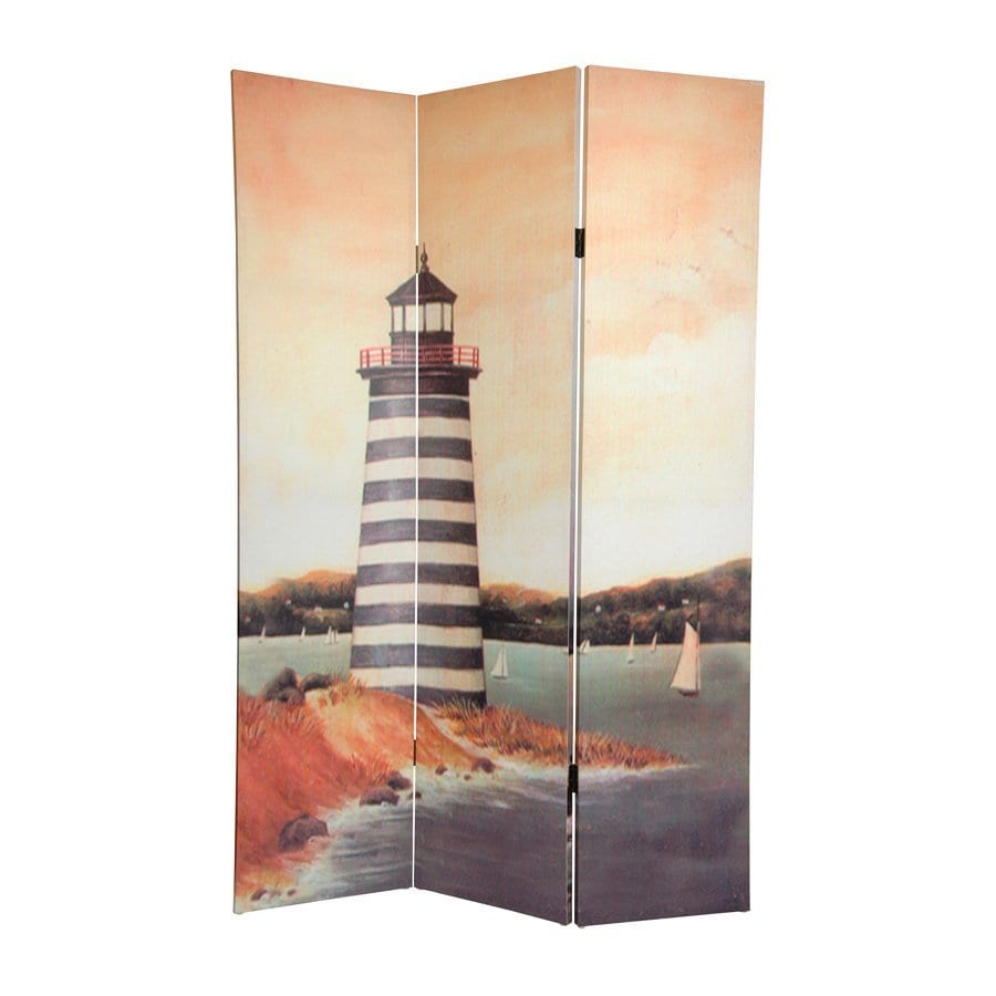 Oriental Furniture Lighthouses 3-Panel Multi Wood and Fabric Folding Indoor Privacy Screen