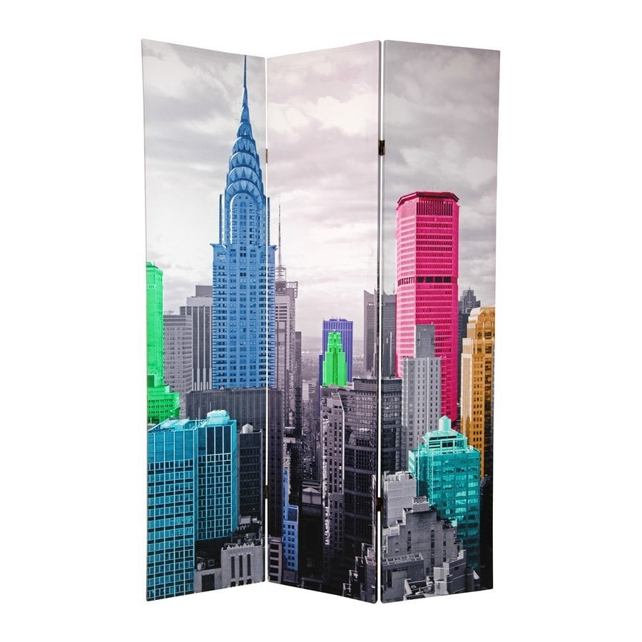 Oriental Furniture Colorful New York 3 Panel Multicolor Fabric Folding  Indoor Privacy Screen