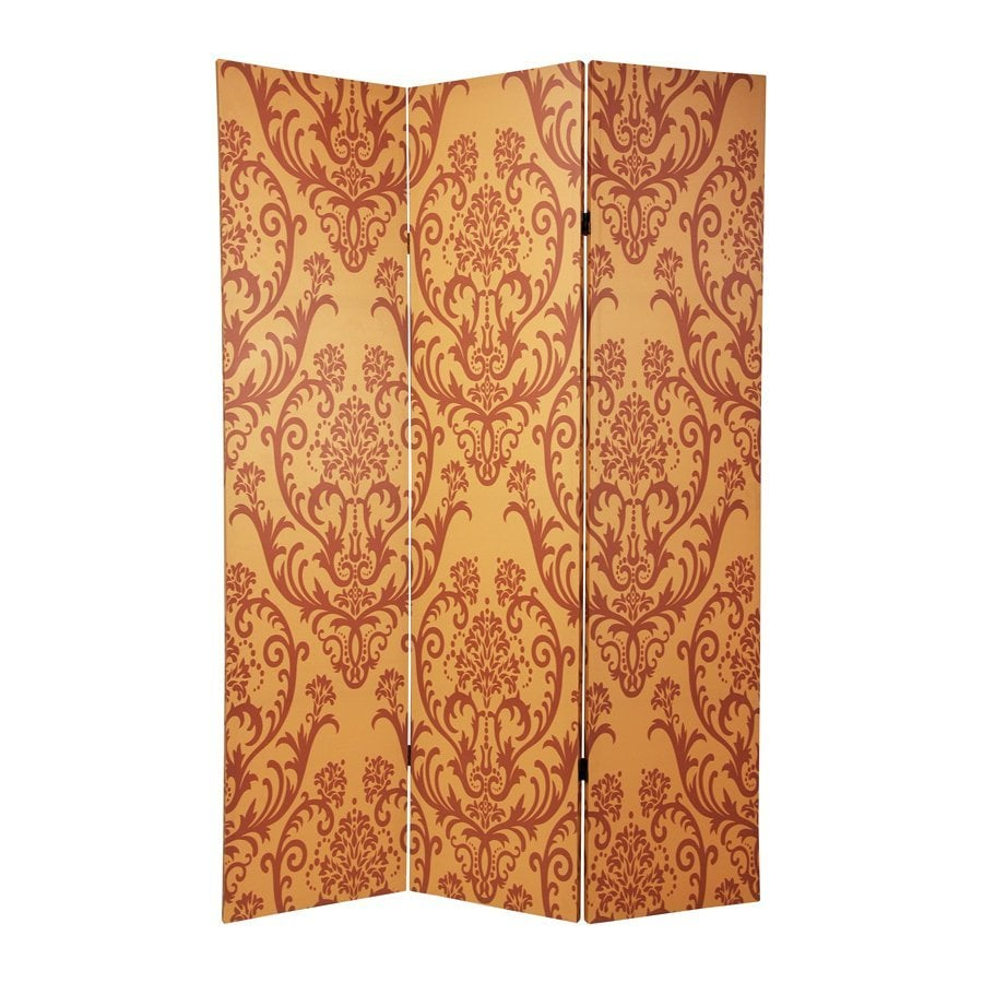 Oriental Furniture Damask 3-Panel Red/Orange Wood and Fabric Folding Indoor Privacy Screen