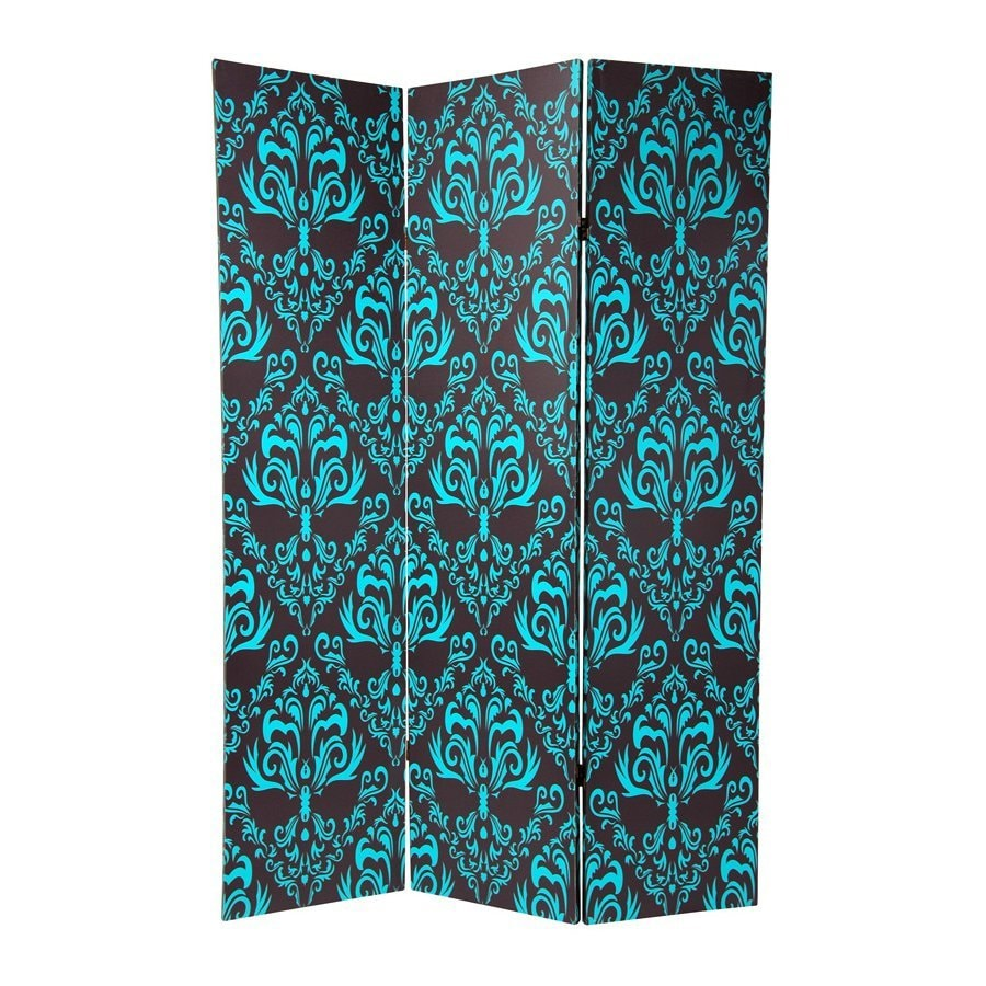 Oriental Furniture Damask 3-Panel Blue/Black Fabric Folding Indoor Privacy Screen