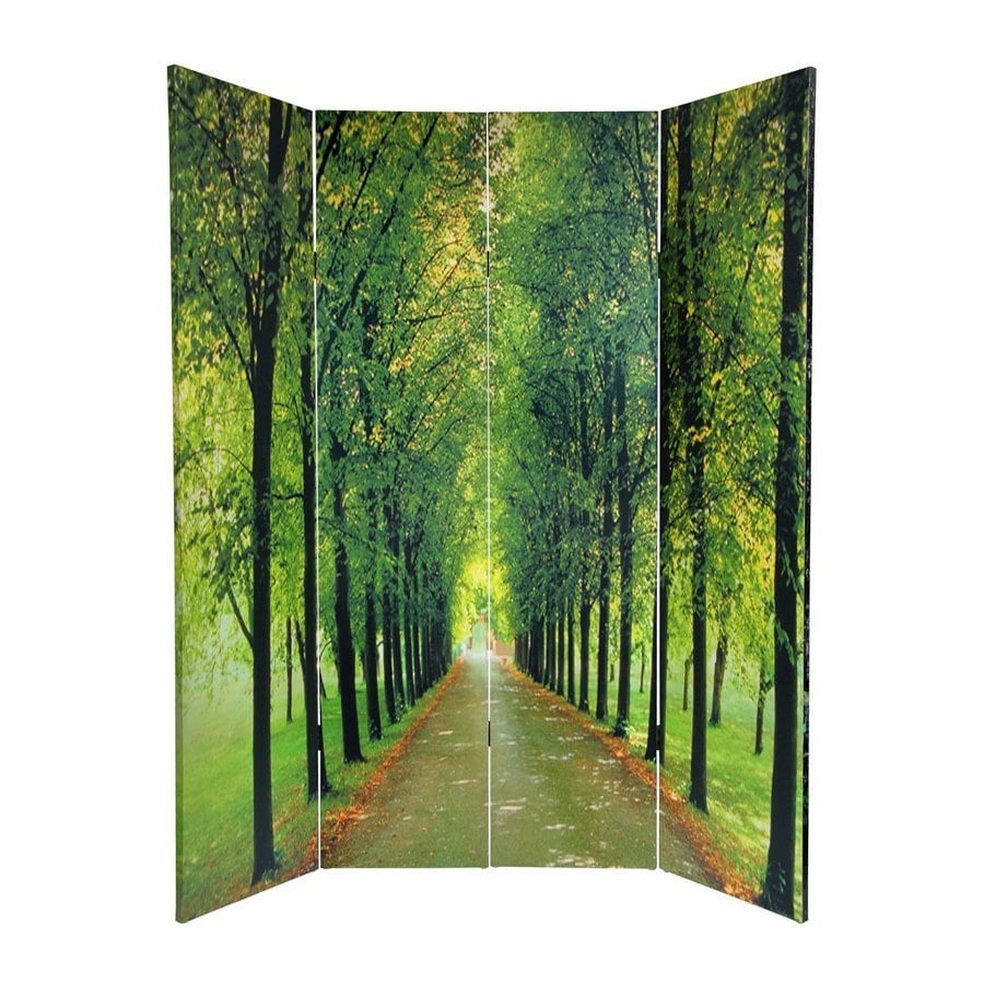 Oriental Furniture Path Of Life 4-Panel Green Fabric Folding Indoor Privacy Screen