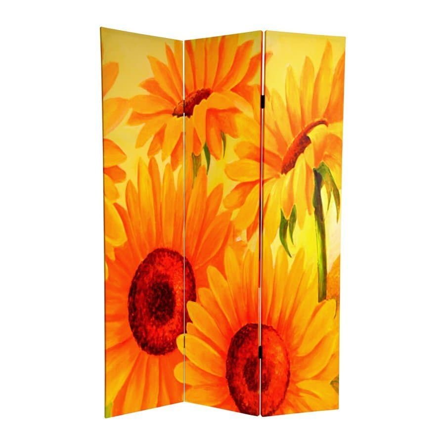 Oriental Furniture Poppies and Sunflowers 3-Panel Multicolor Fabric Folding Indoor Privacy Screen