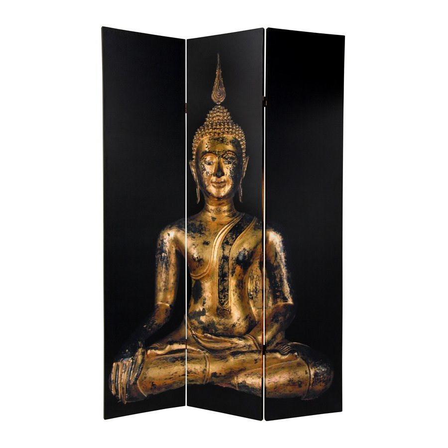 Oriental Furniture Thai Buddha 3-Panel Multicolor Fabric Folding Indoor Privacy Screen