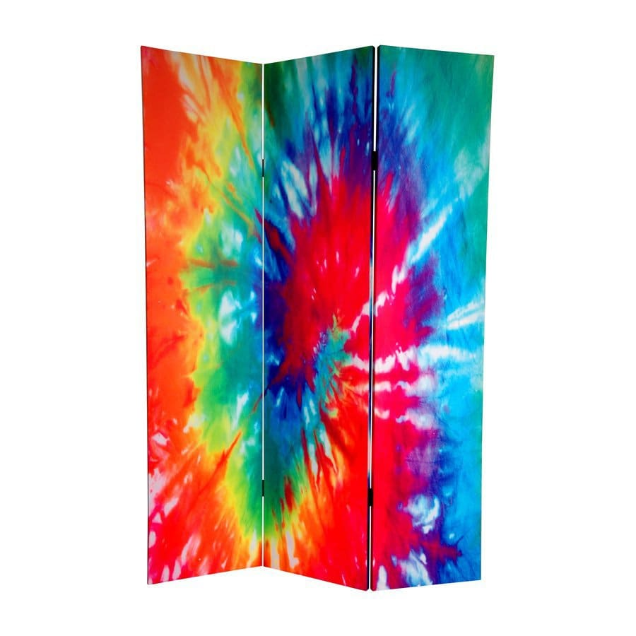 Oriental Furniture Tie Dye 3 Panel Wood And Fabric Folding