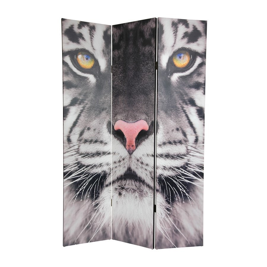 Oriental Furniture Tiger 3-Panel Multicolor Fabric Folding Indoor Privacy Screen