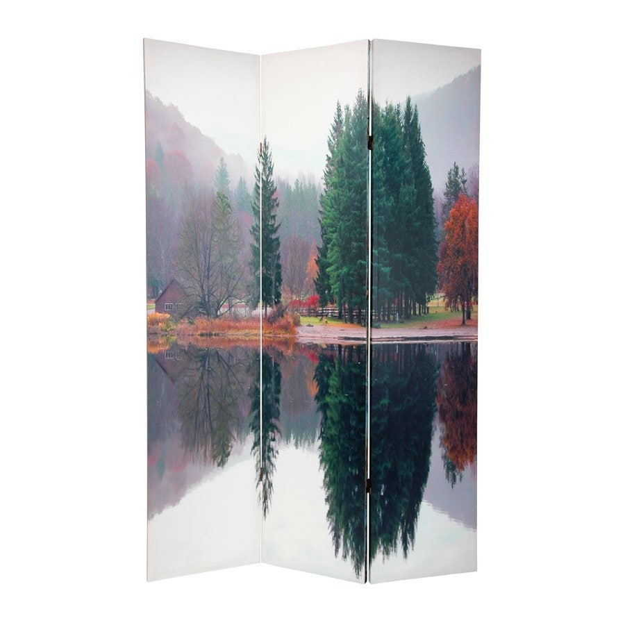 Oriental Furniture Trees 3-Panel Multicolor Fabric Folding Indoor Privacy Screen