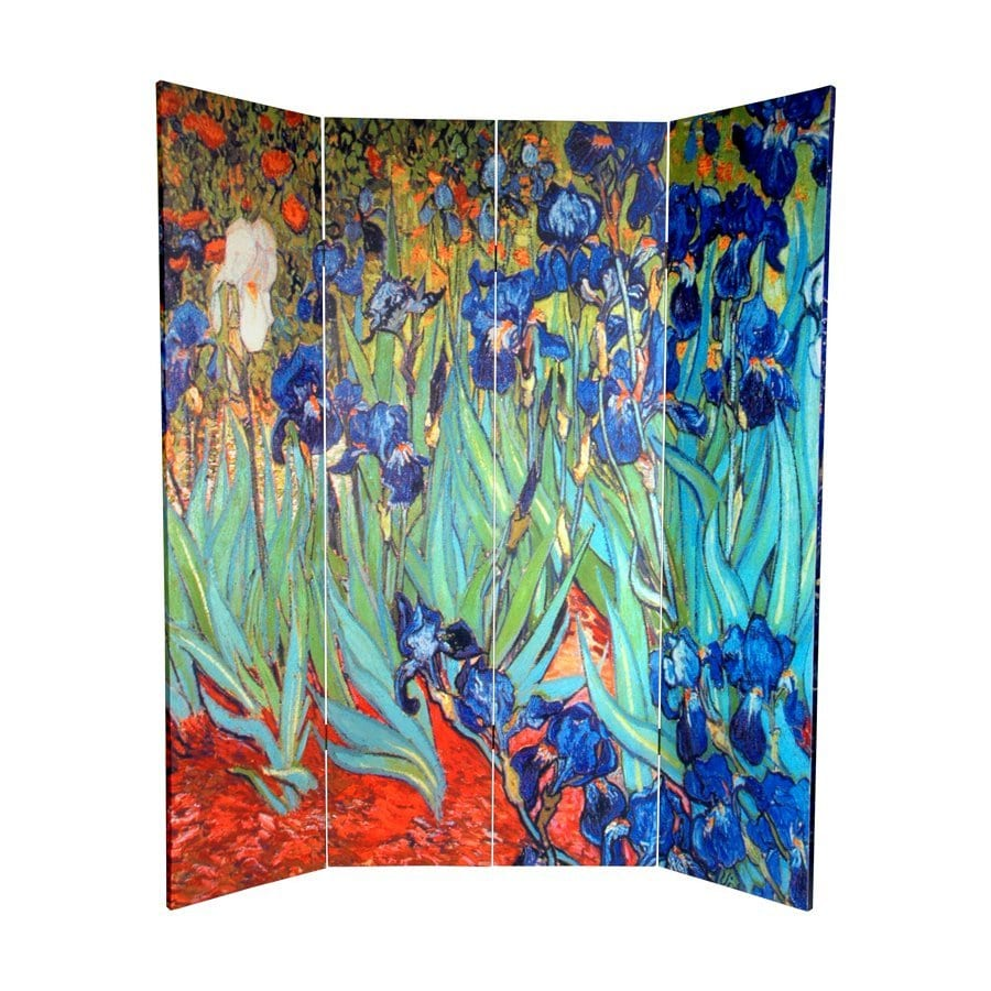 Oriental Furniture Irises/Starry Night Over Rhone 4-Panel Multi Wood and Fabric Folding Indoor Privacy Screen