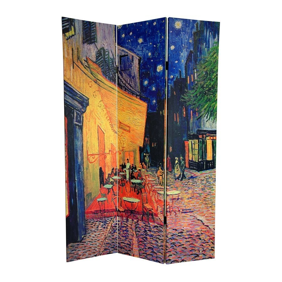 Oriental Furniture Cafe Terrace/Veiw Of Arles 3-Panel Multicolor Fabric Folding Indoor Privacy Screen