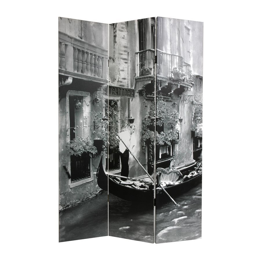 Oriental Furniture Scenes Of Venice 3-Panel Black/White Fabric Folding Indoor Privacy Screen