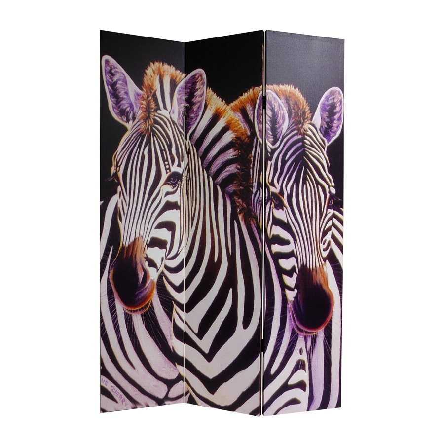 Oriental Furniture Elephant and Zebra 3-Panel Multi Wood and Fabric Folding Indoor Privacy Screen