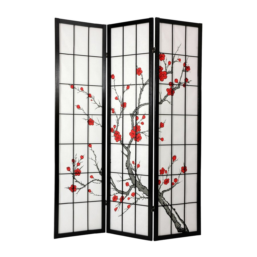 Oriental Furniture Cherry Blossom 3-Panel Black Wood and Paper Folding Indoor Privacy Screen