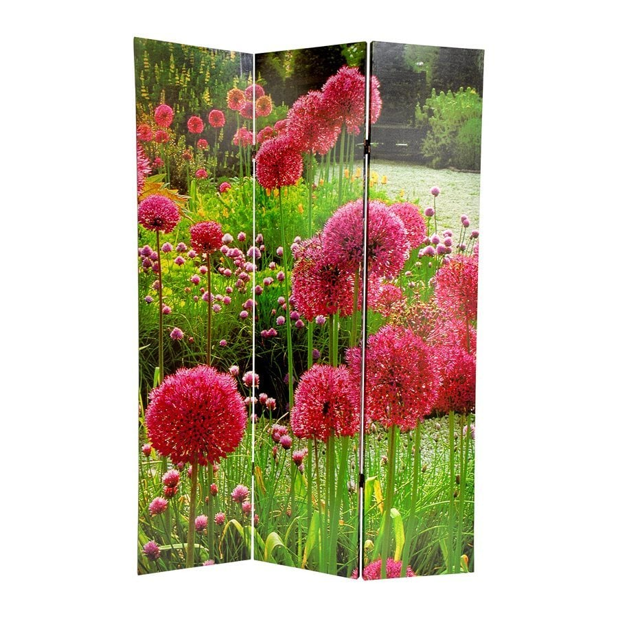 Oriental Furniture Floral 3-Panel Multicolor Fabric Folding Indoor Privacy Screen