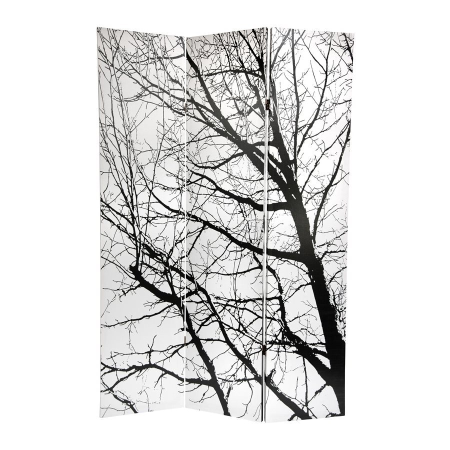 Oriental Furniture Trees 3-Panel Black/White Fabric Folding Indoor Privacy Screen