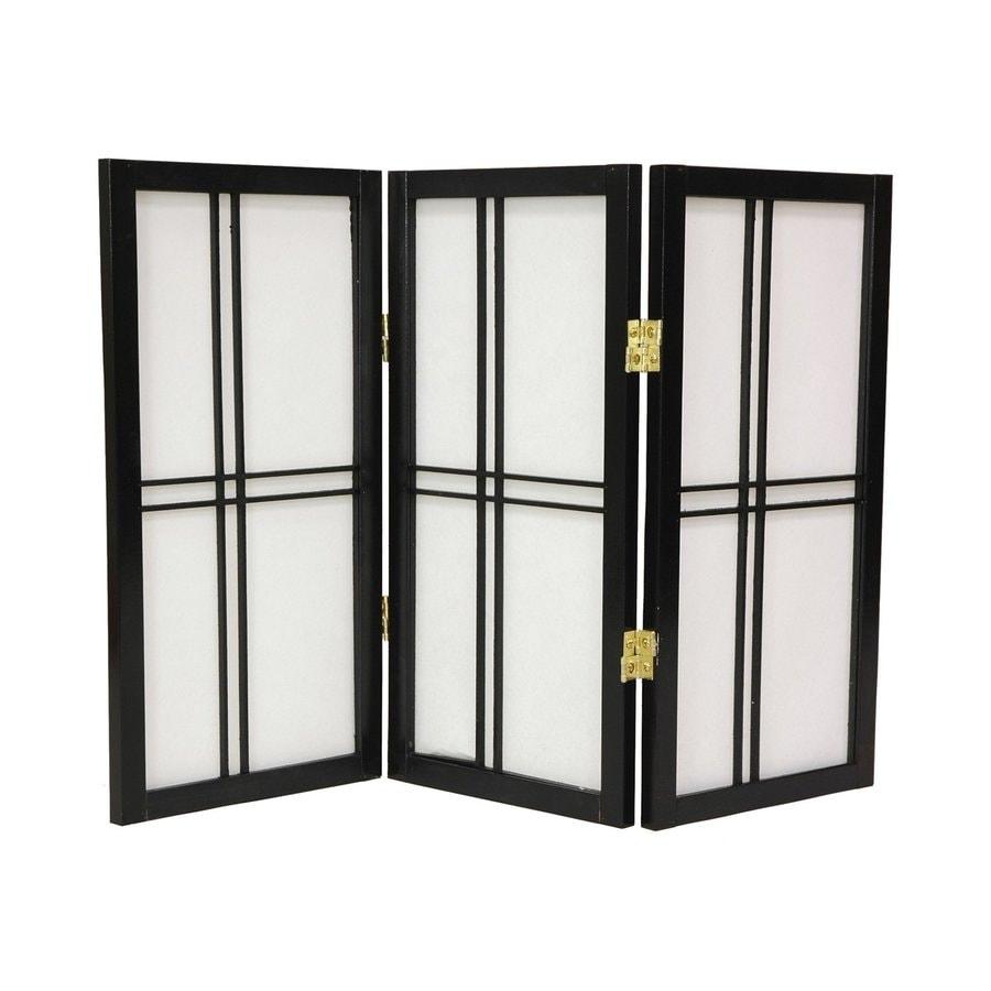Oriental Furniture Double Cross 3-Panel Black Paper Folding Indoor Privacy Screen