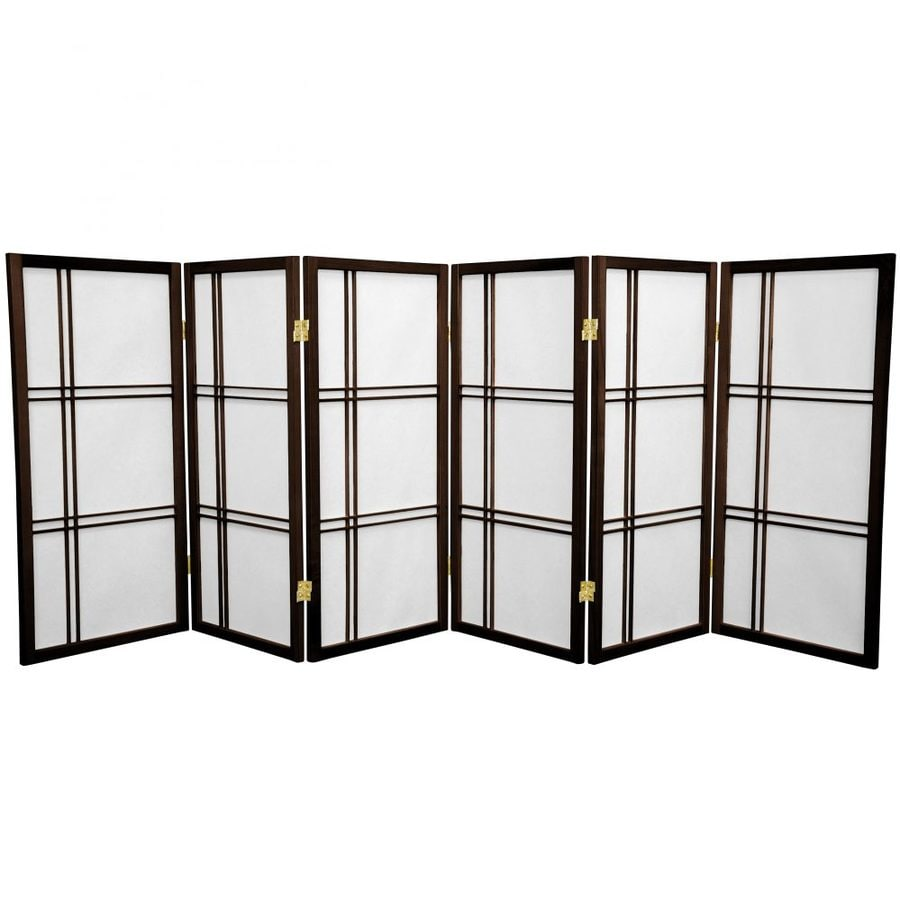 Oriental Furniture Double Cross 6-Panel Walnut Paper Folding Indoor Privacy Screen