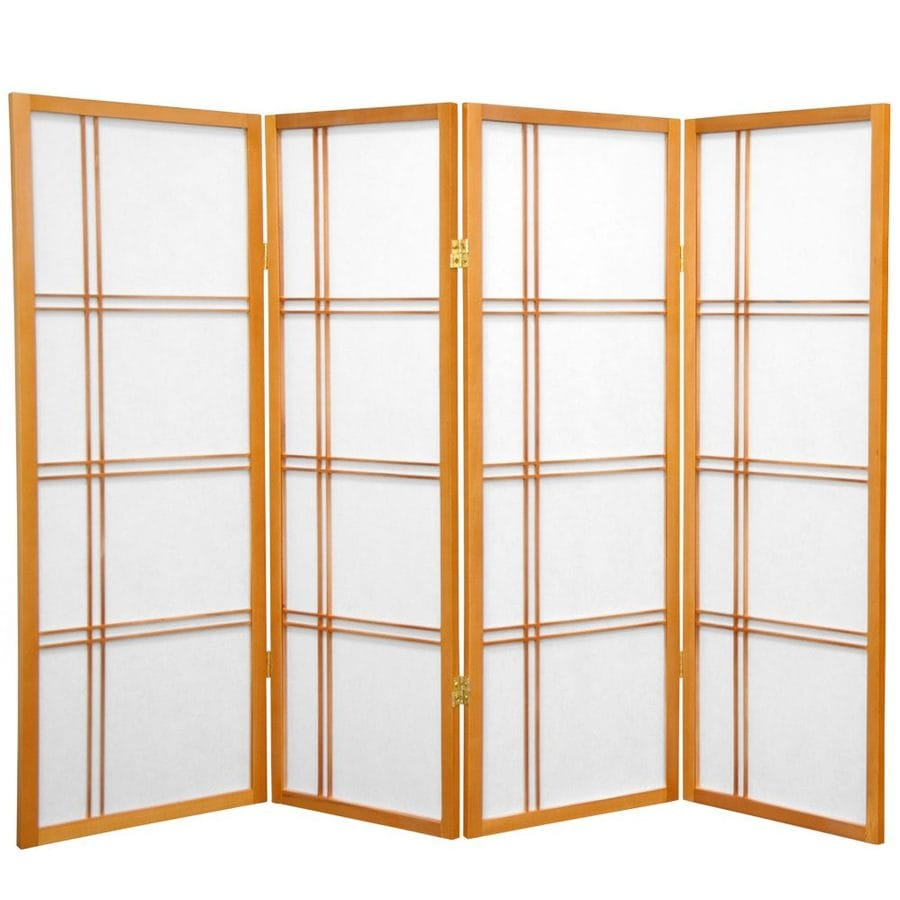 Oriental Furniture Double Cross 4-Panel Honey Paper Folding Indoor Privacy Screen