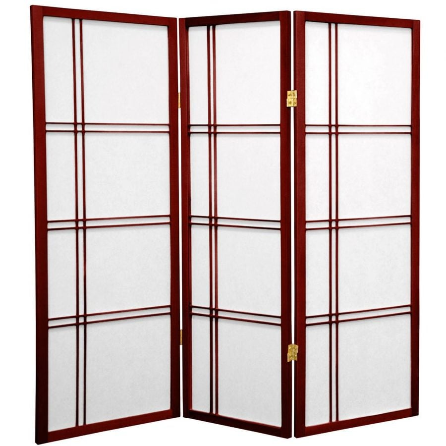 Oriental Furniture Double Cross 3-Panel Rosewood Paper Folding Indoor Privacy Screen