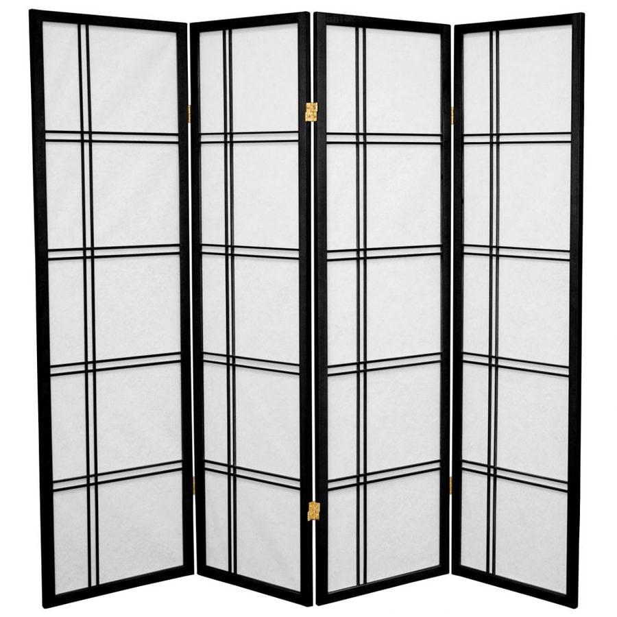 Oriental Furniture Double Cross 4-Panel Black Paper Folding Indoor Privacy Screen
