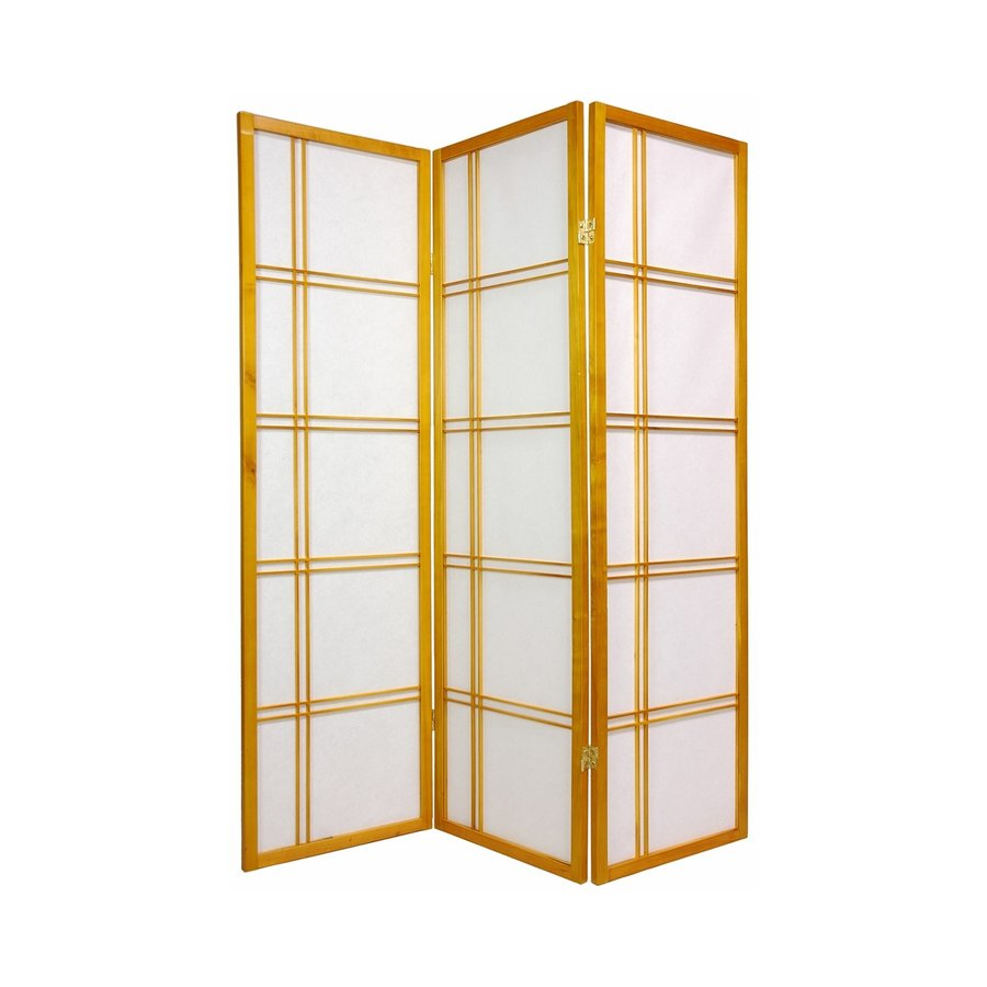 Oriental Furniture Double Cross 3-Panel Honey Paper Folding Indoor Privacy Screen