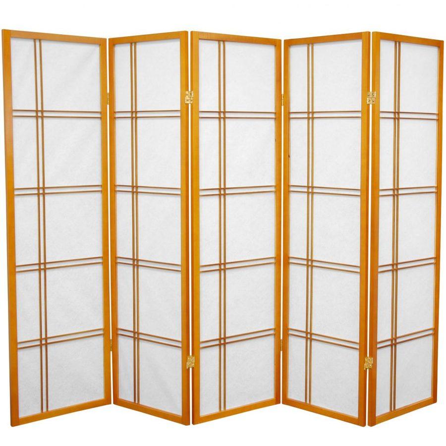 Oriental Furniture Double Cross 5-Panel Honey Paper Folding Indoor Privacy Screen