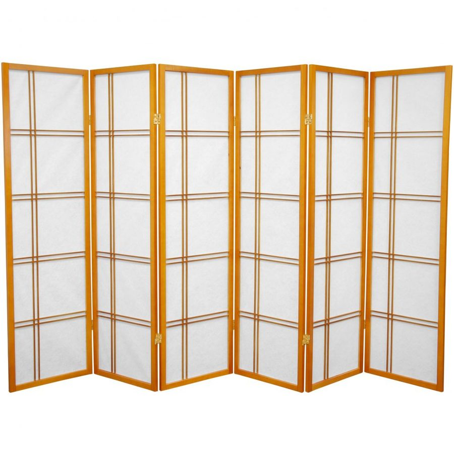 Oriental Furniture Double Cross 6-Panel Honey Paper Folding Indoor Privacy Screen