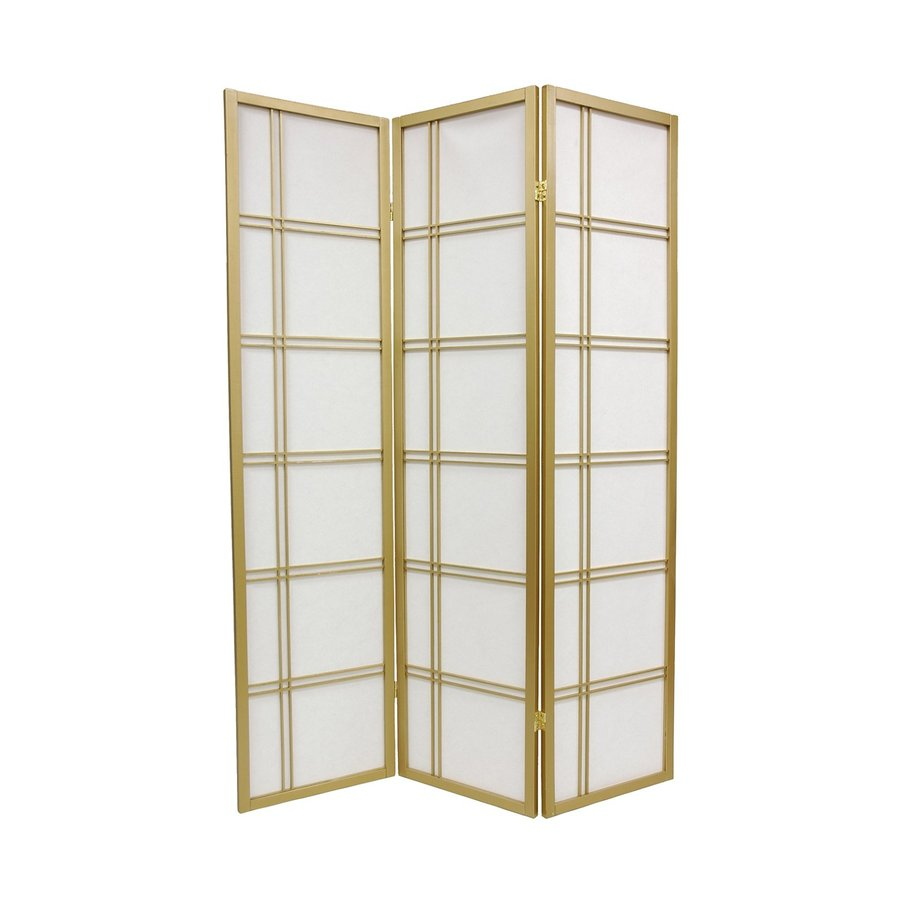 oriental furniture double cross 3panel gold wood and paper folding indoor privacy screen