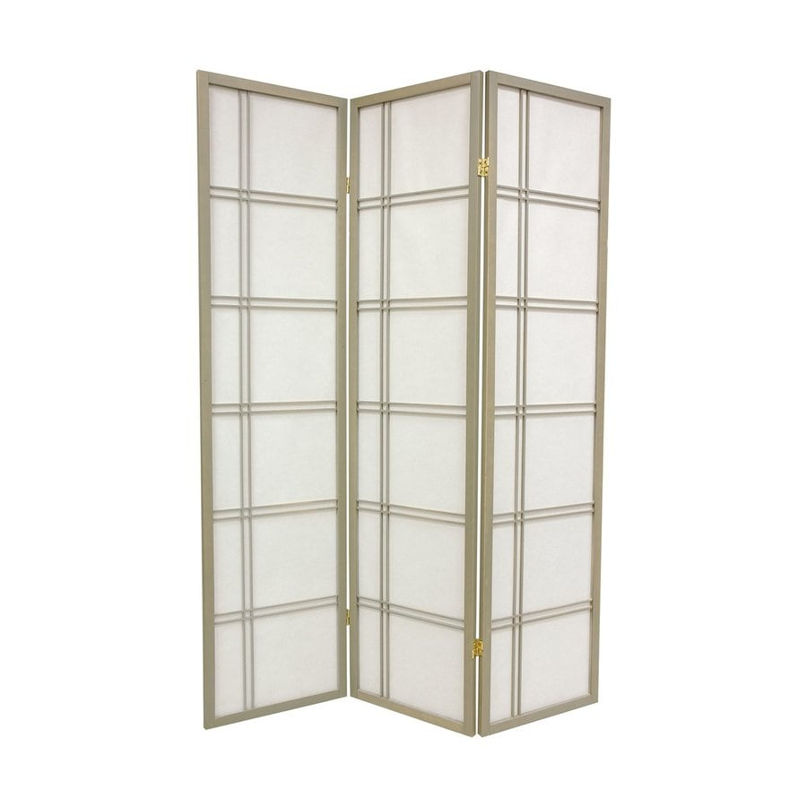 Oriental Furniture Double Cross 3-Panel Gray Paper Folding Indoor Privacy Screen