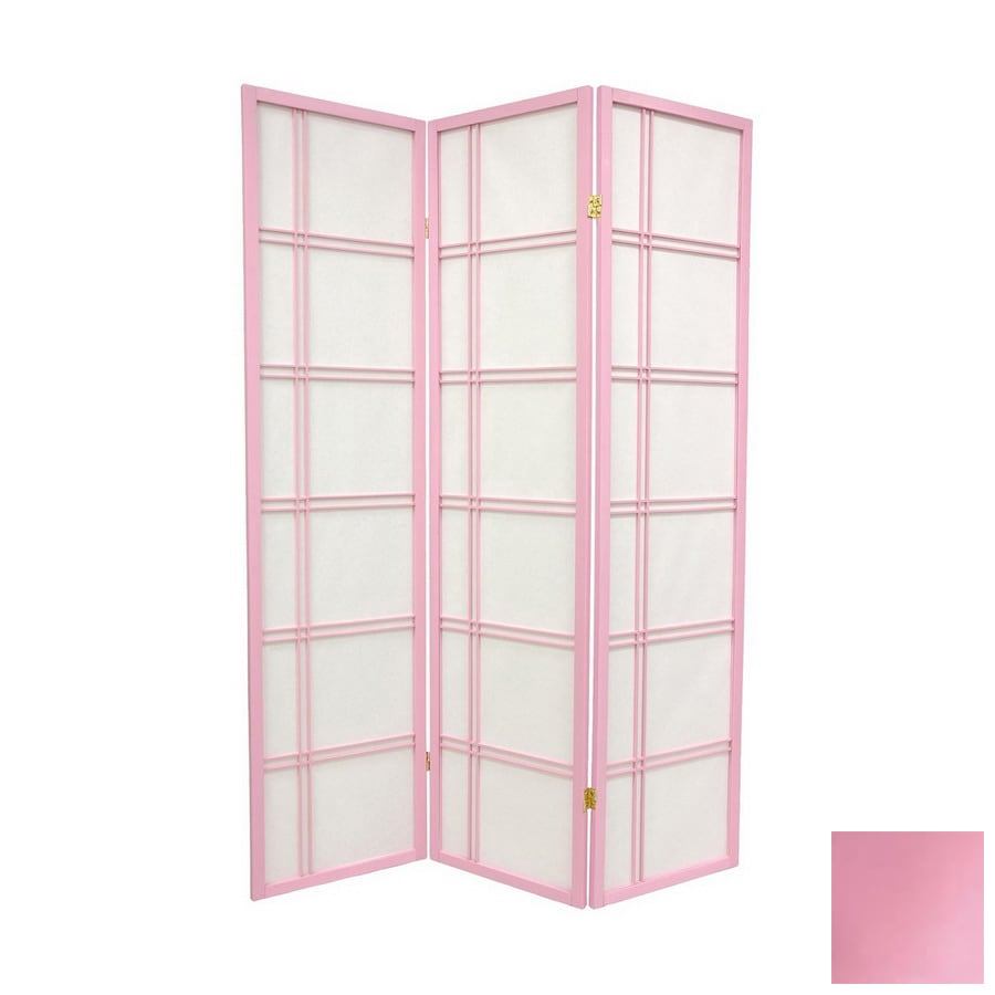 oriental furniture double cross 3panel pink folding indoor privacy screen