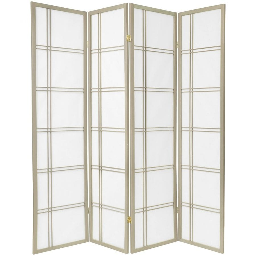 Oriental Furniture Double Cross 4-Panel Grey Wood and Paper Folding Indoor Privacy Screen