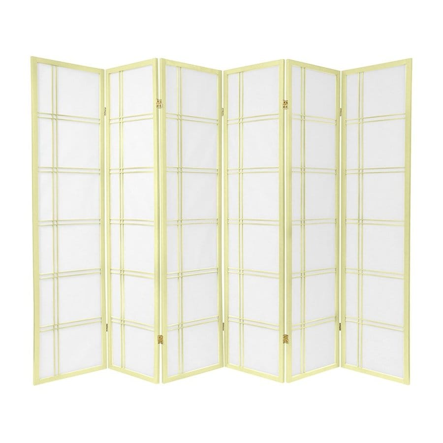 Oriental Furniture Double Cross 6-Panel Ivory Paper Folding Indoor Privacy Screen