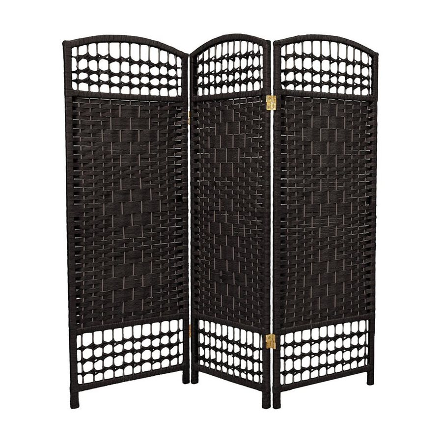 Oriental Furniture Fiber Weave 3-Panel Black Woven Fiber Folding Indoor Privacy Screen