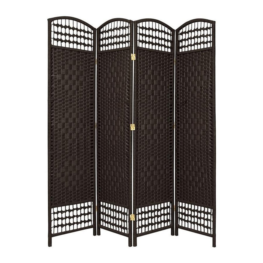 Oriental Furniture Fiber Weave 4-Panel Black Woven Fiber Folding Indoor Privacy Screen
