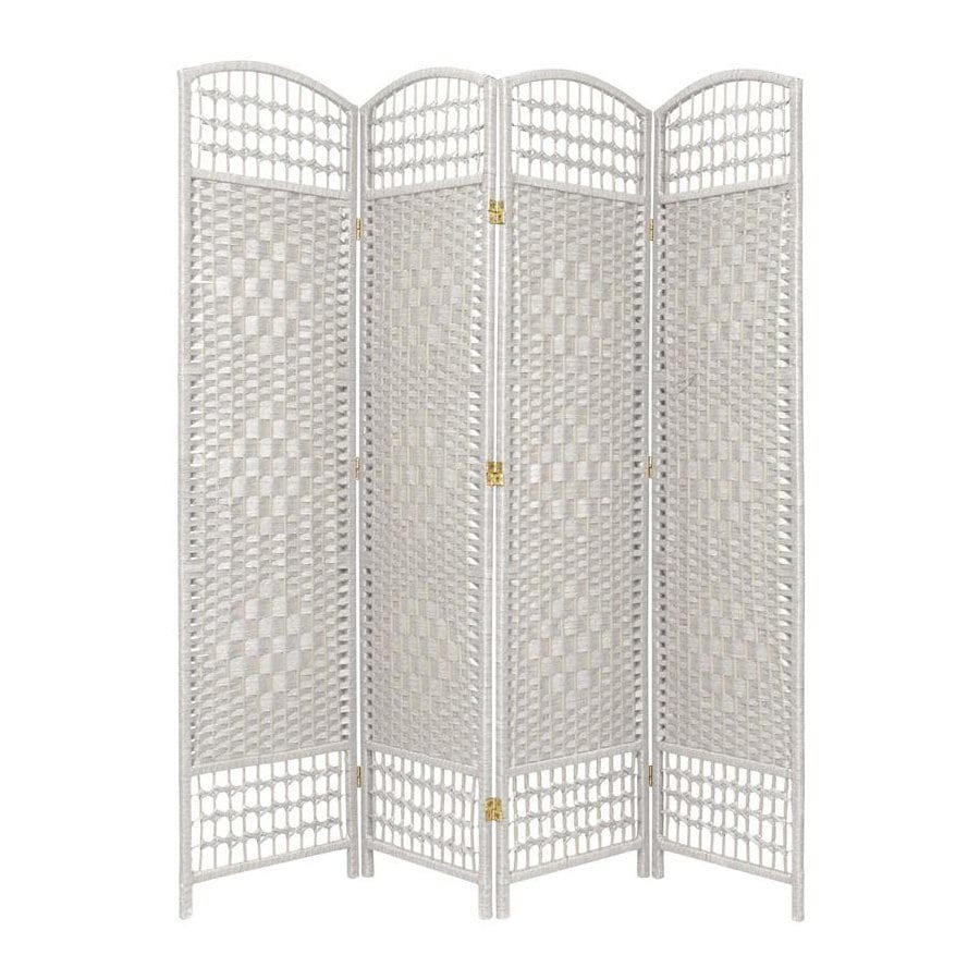 Oriental Furniture Fiber Weave 4-Panel White Woven Fiber Folding Indoor Privacy Screen
