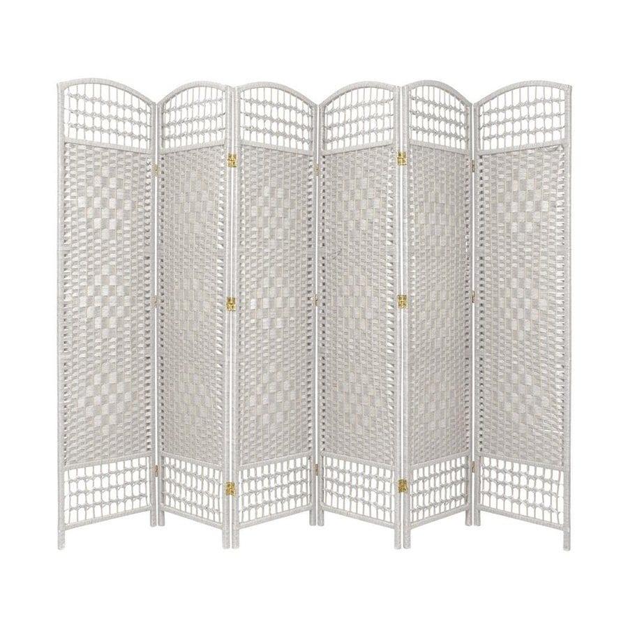 Oriental Furniture Fiber Weave 6-Panel White Woven Fiber Folding Indoor Privacy Screen