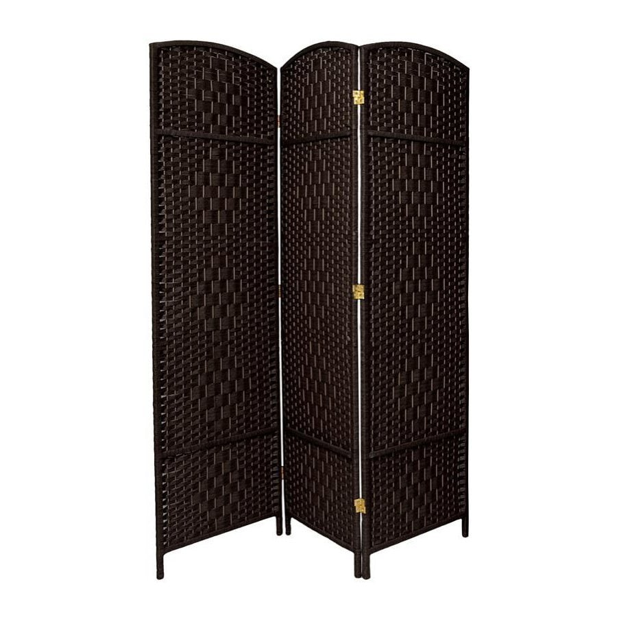 Oriental Furniture Diamond Weave 3-Panel Black Wood and Rattan Folding Indoor Privacy Screen