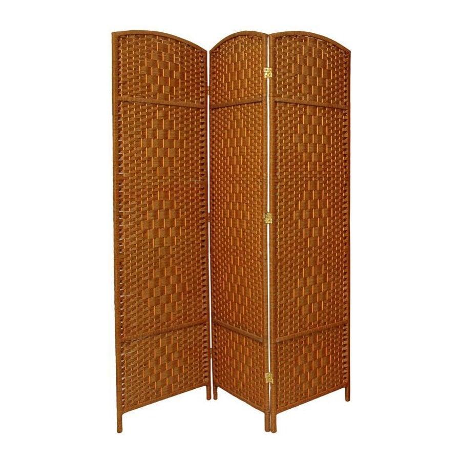 Oriental Furniture Diamond Weave 3-Panel Dark Beige Woven Fiber Folding Indoor Privacy Screen