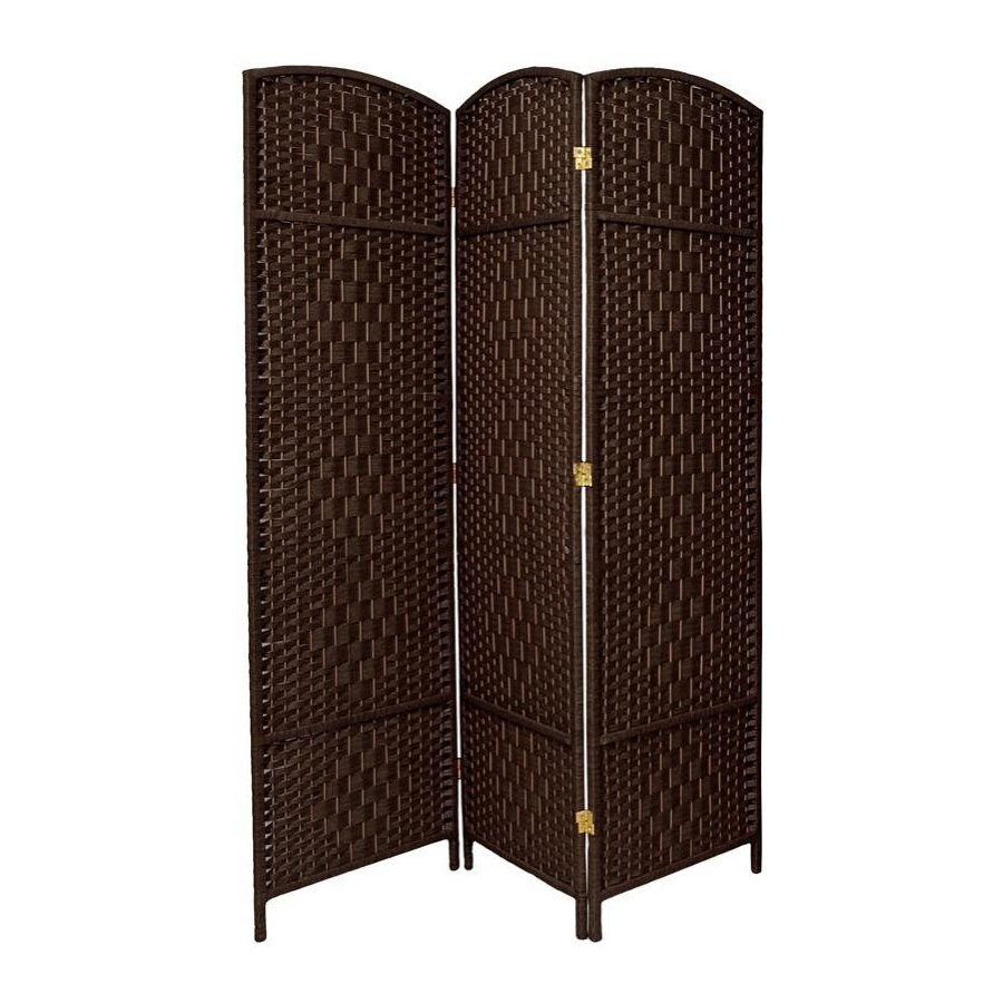 Oriental Furniture Diamond Weave 3-Panel Dark Mocha Woven Fiber Folding Indoor Privacy Screen