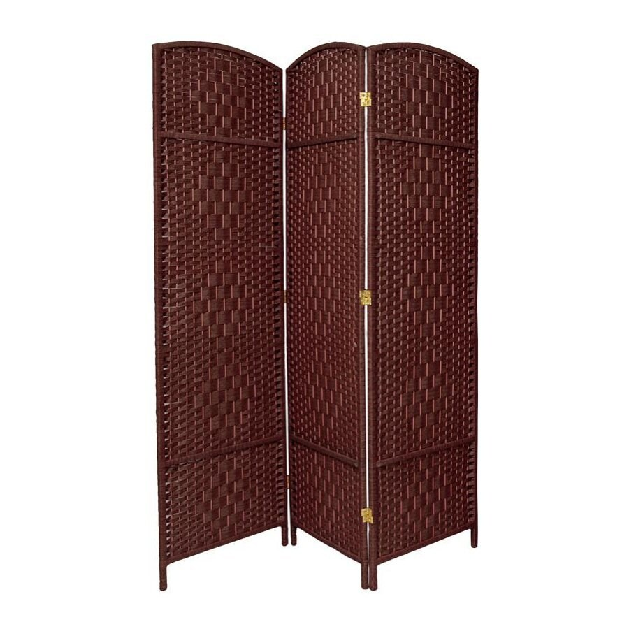 Oriental Furniture Diamond Weave 3-Panel Dark Red Woven Fiber Folding Indoor Privacy Screen