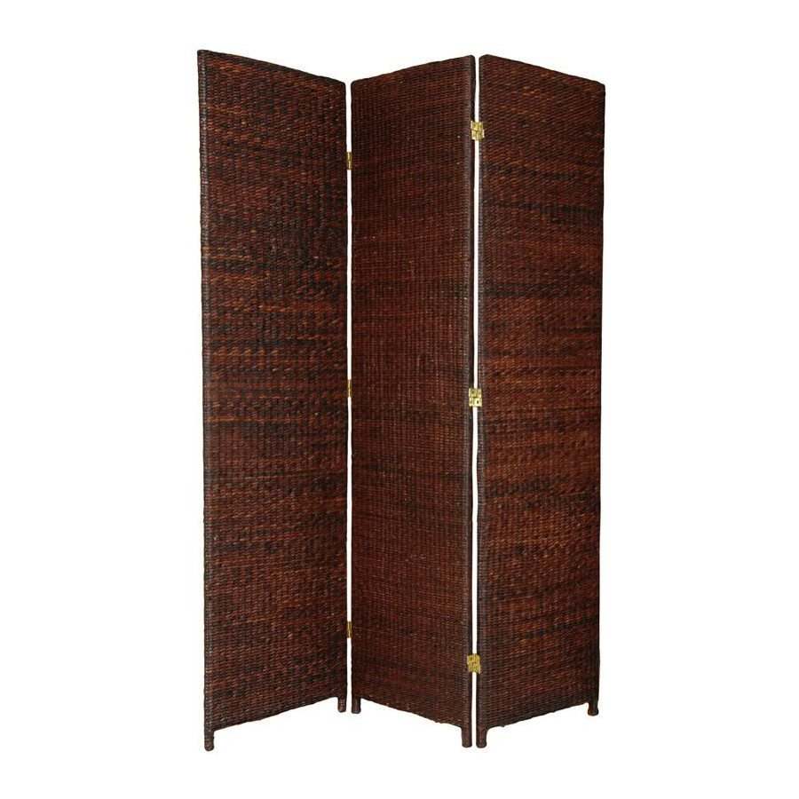 Oriental Furniture 3-Panel Dark Brown Woven Fiber Folding Indoor Privacy Screen