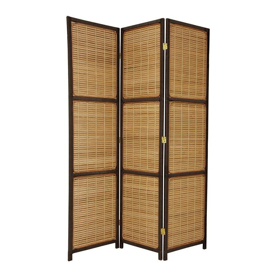 Oriental Furniture 3-Panel Dark Brown Wood Folding Indoor Privacy Screen