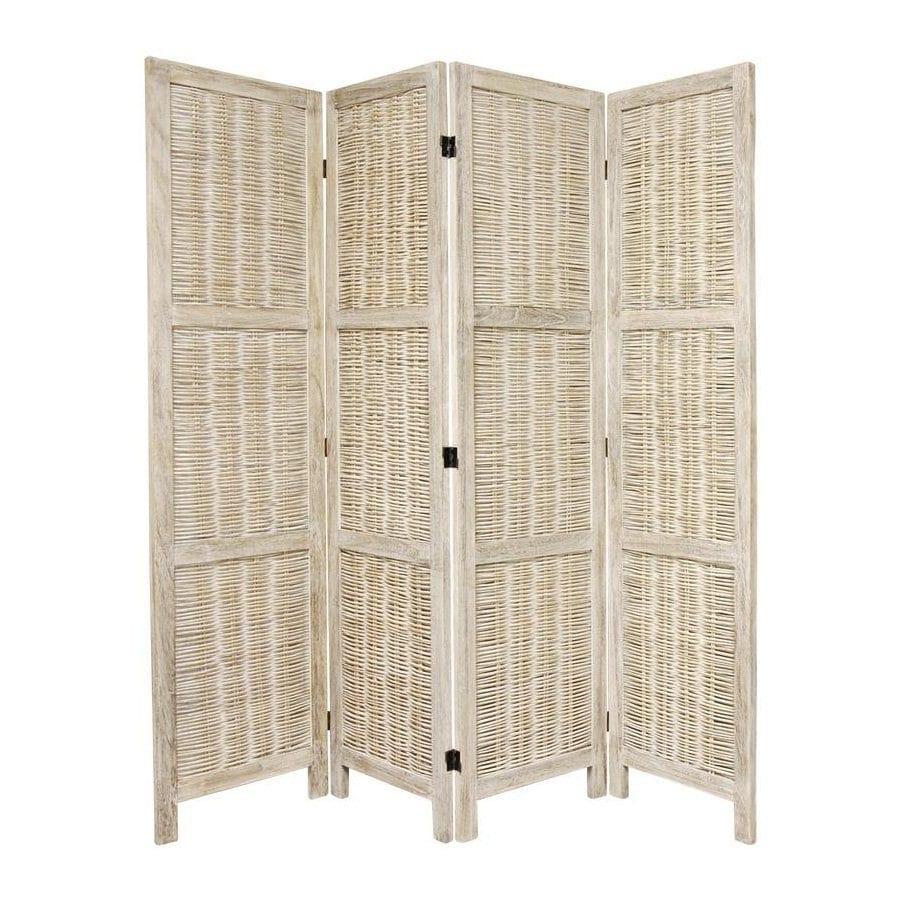 Oriental Furniture Matchstick 4-Panel Burnt White Rattan Folding Indoor Privacy Screen