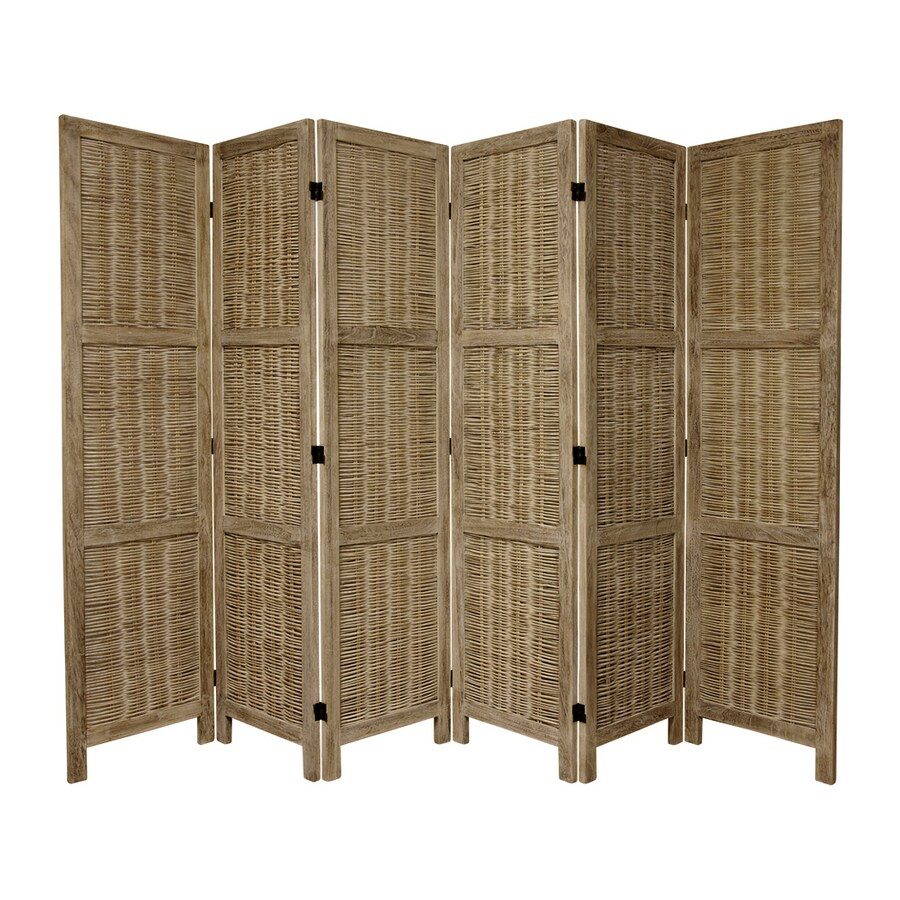 Oriental Furniture 6-Panel Burnt Gray Wood Folding Indoor Privacy Screen