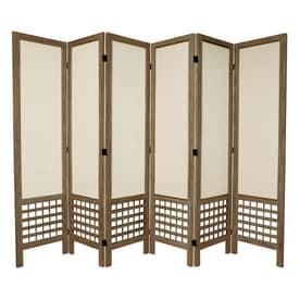 Oriental Furniture Open Latice 6 Panel Fabric Folding Indoor Privacy Screen