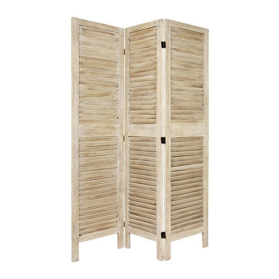 Oriental Furniture Classic Venetian 3-Panel Burnt White Wood Folding Indoor Privacy Screen