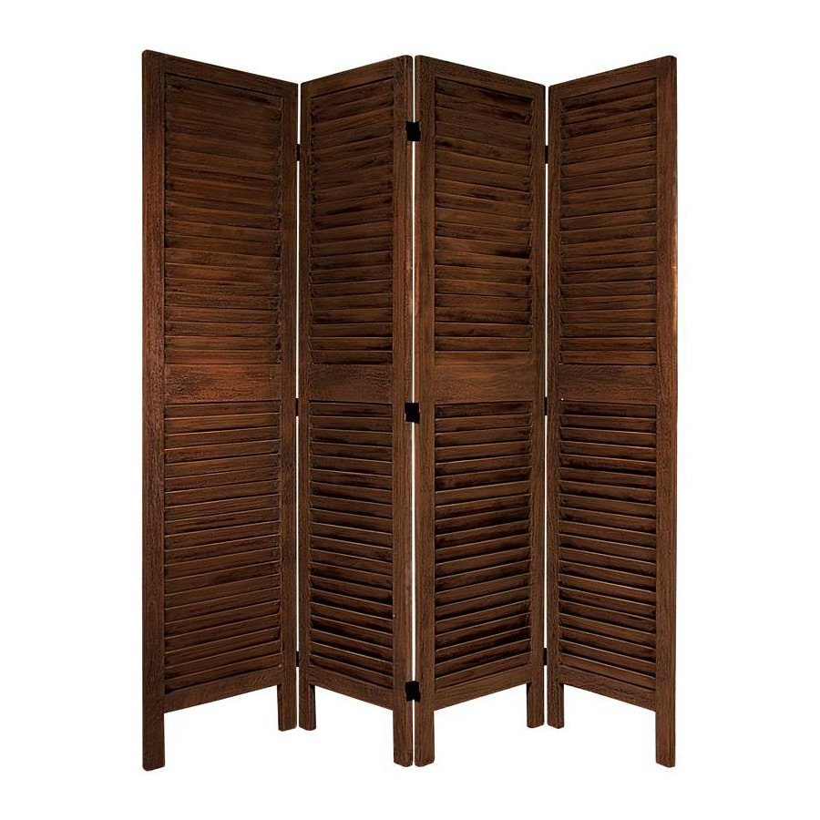 Oriental Furniture Classic Venetian 4-Panel Burnt Brown Wood Folding Indoor Privacy Screen