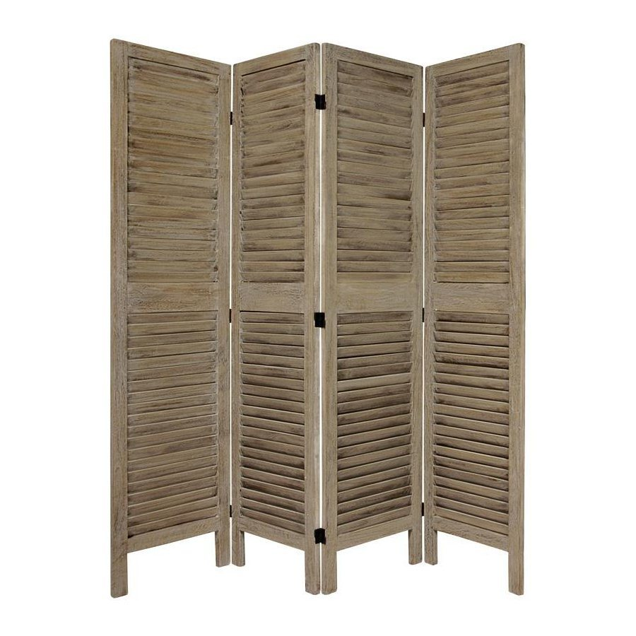Oriental Furniture Classic Venetian 4-Panel Burnt Gray Wood Folding Indoor Privacy Screen