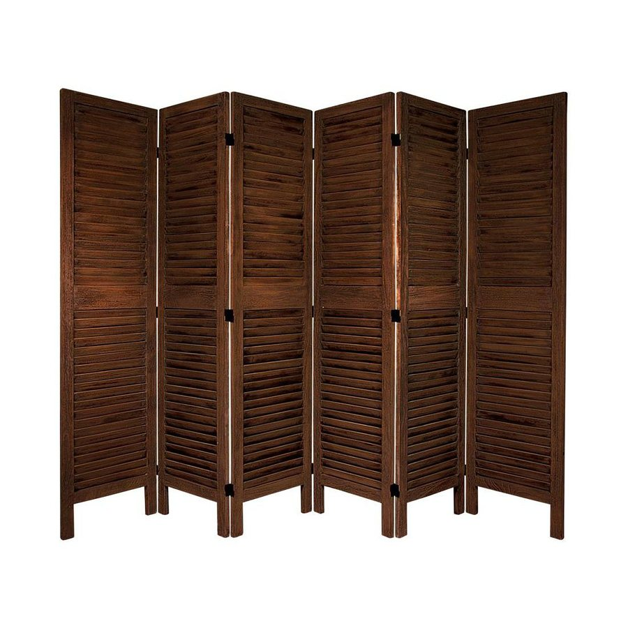 Oriental Furniture Classic Venetian 6-Panel Burnt Brown Wood Folding Indoor Privacy Screen